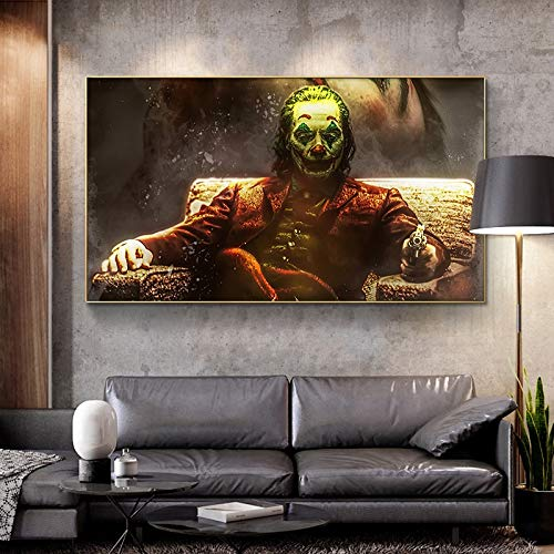 ganlanshu Payaso decoración de la Pared Pintura película Retrato Lienzo Arte para Sala de Estar decoración del hogar,Pintura sin Marco,60X108cm
