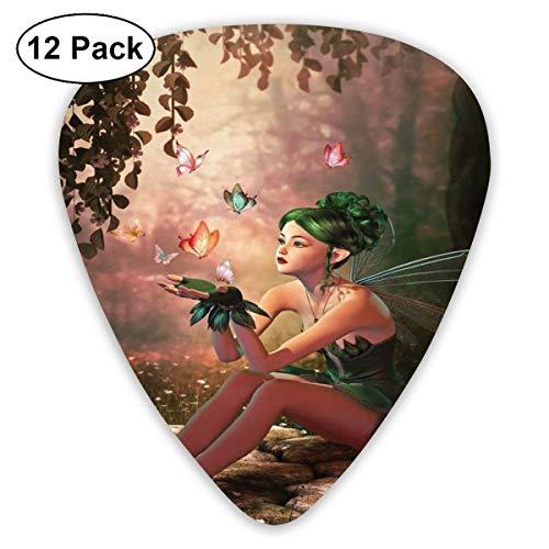 Gitaar Picks12 stks Plectrum (0,46 mm-0,96 mm), Meisje met vleugels en vlinders Digitale Samenstelling Computer Graphics Elven Creature,Voor Uw Gitaar of Ukulele