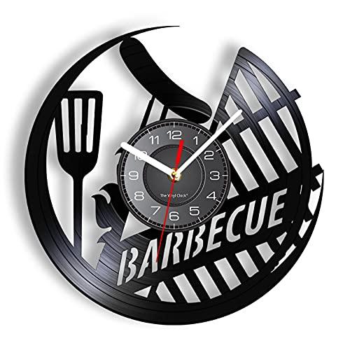 ROMK Relojes de pared para cocina moderna barbacoa salchicha al aire libre Picnic disco de vinilo reloj de pared BBQ Grill Sign Decoración del hogar Asado Carne colgante reloj cocina amante regalo