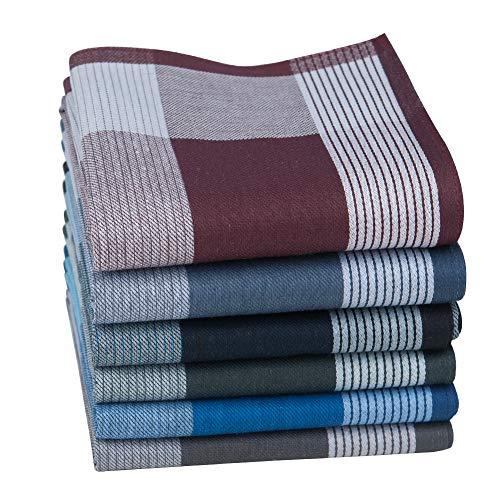 HOULIFE Herren Dick Taschentücher aus Reiner Gekämmte Baumwolle 43x43cm 6 Farben für Alltagsgebrauch 6/12 Stücke