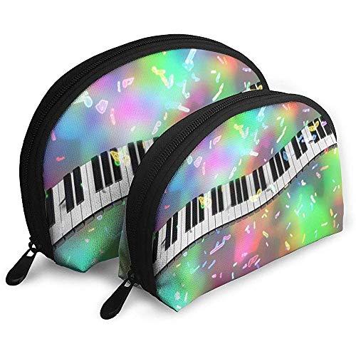 Tasti di pianoforte Musica Borse portatili colorate Borsa per trucco Borsa da toilette, Borse da viaggio portatili multifunzione Piccola pochette per trucco con cerniera