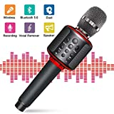 Wireless Karaoke Microphone Bluetooth 5.0 Portable Handheld Karaoke Mic Speaker Player Machine with Duet Vocal Remover Function Home Party for Android iOS All Smartphone(Black)