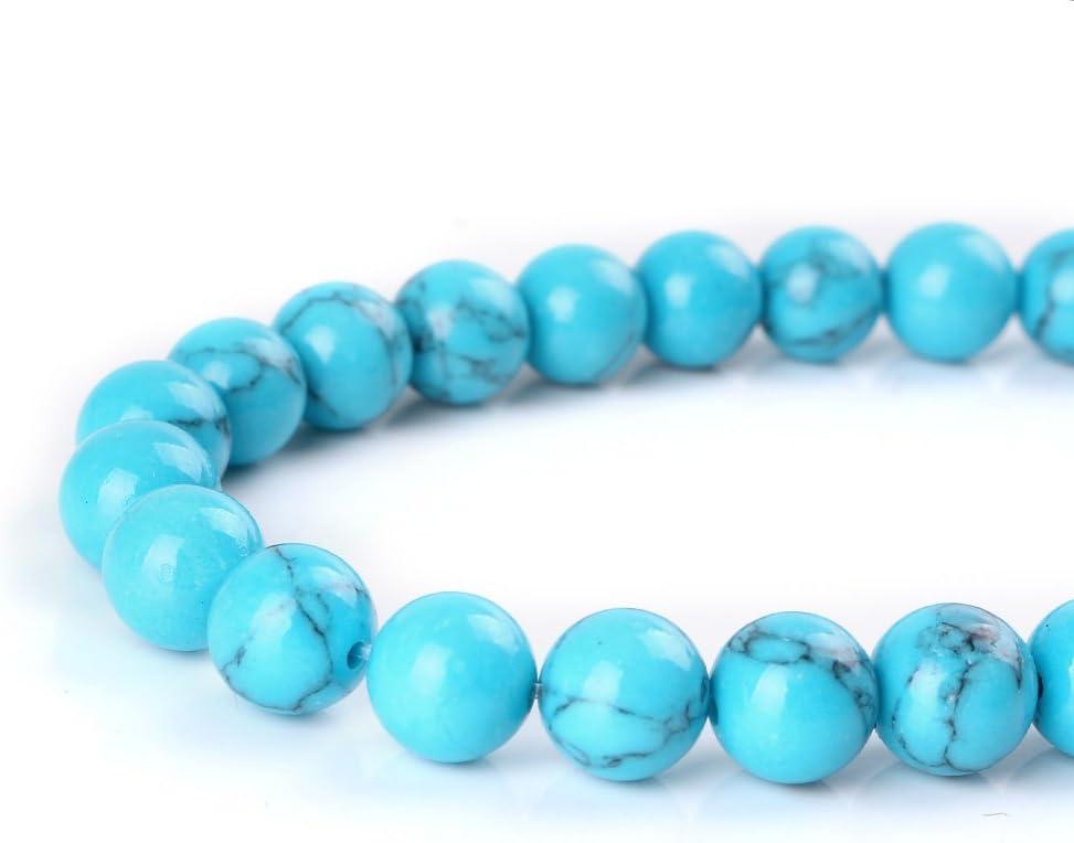 Mallofusa Artificial Turquoise Gemstone Beads Award Round Loose trust