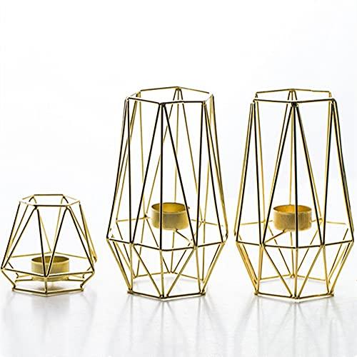 Queta 3Pcs Portavelas Dorado (2 Grandes + 1 pequeño), Candelero Geométrico, Hueco Moderno Portavelas de Hierro Forjado Candelabro de Decoración de Mesa para Salón o Fiesta
