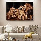 ganlanshu Rahmenlose MalereiLöwenpaar Löwentier Malt und druckt Wandbilder auf Leinwand40X60cm
