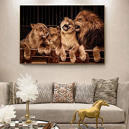 Sanzangtang Realistische leeuwenafbeeldingen op de muur, poster en afdrukken op de muur, leeuwenpaar muurkunst, dieren canvasafbeeldingen op de muur van de woonkamer, frameloos