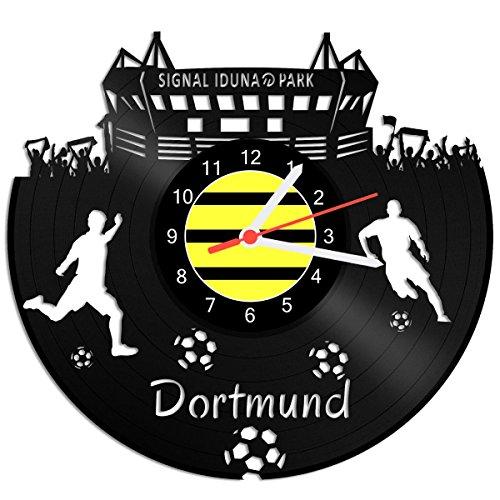 GRAVURZEILE Schallplattenuhr Dortmund - 100% Vereinsliebe - Upcycling Design Wanduhr aus Vinyl Made in Germany