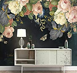 SCMKD 3D wallpaper removable large floral print dramatic