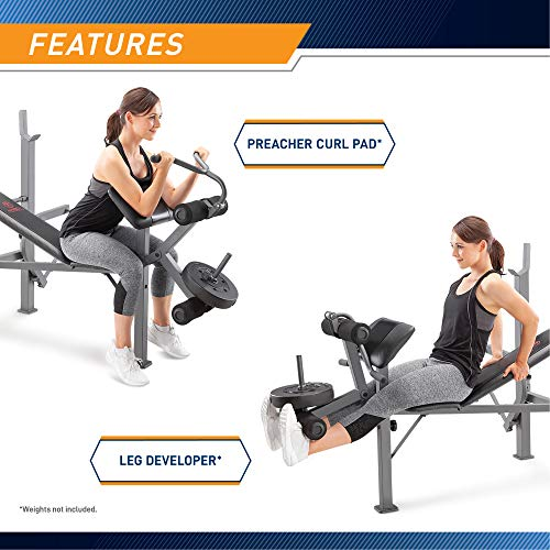 Product Image 2: Marcy Standard Weight Bench with Leg Developer Multifunctional Workout Station for Home Gym Weightlifting and Strength Training MD-389