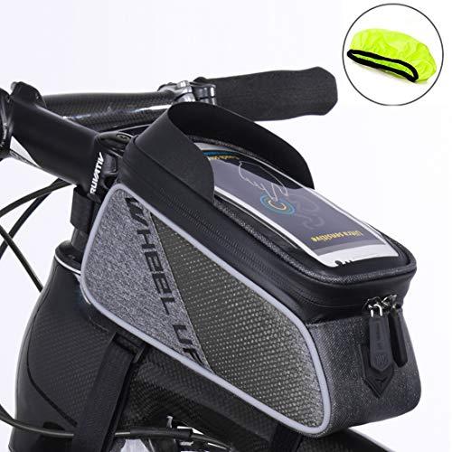 Fahrrad Rahmentasche, Fahrrad Oberrohrtasche Tasche, XPhonew wasserabweisend Fahrrad Handytasche Vorderes Rohr Rahmen Tasche Halter für iPhone XS MAX XR X 8 7 6S 6 Plus Samsung Smartphones bis 6 Zoll