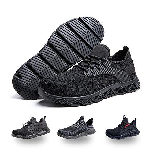Zapatos de Seguridad Hombre Mujer Trabajo Ligeras Calzado de Seguridad Deportivo Comodo con Punta de Acero C Negro 42 EU