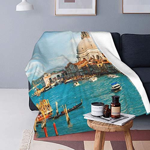 Coperta in Micro Pile Ultra Morbida,Bella Vista del Canal Grande con Nuvole, Venezia, Italia,Couverture chaude décorative pour canapé-Lit,80'X 60'