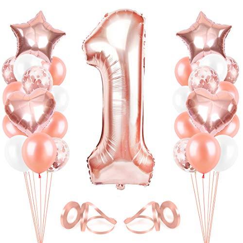 Bluelves 1er Anniversaire Fille Ballon, Or Rose Ballon Chiffre 1, Ballons Anniversaire 1 an Or Rose, Ballon 1 Ans Fille, Rose Golden Ballons Anniversaire, Anniversaire Fille 1 an Parti Décoration