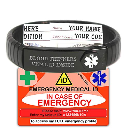 U ID Me Medische Armband Set, Medische Alert Armband, Unisex Polsband, Zwarte Uitbreidingsband, Unisex, Gegraveerde Medische Staat, Behuizing Store Persoonlijke Informatie, Medicatie, Contacten