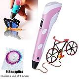 3D Zeichenstift für Kinder mit 9M lang 1,75 MM 3 Farbe PLA 3Doodler Pen Kits 3D Druck Stift mit LCD Display PLA Filament Minen für Erwachsene, Kritzeln, Künstler, Mädchen, DIY, Zeichnung etc (Rosa)