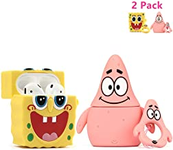 ZAHIUS Airpods Silicone Case Cool Cover Compatible for Apple Airpods 1&2 [Cartoon Series][Designed for Kids Girl and Boys](2Pack Patrick Star&Spongebob)