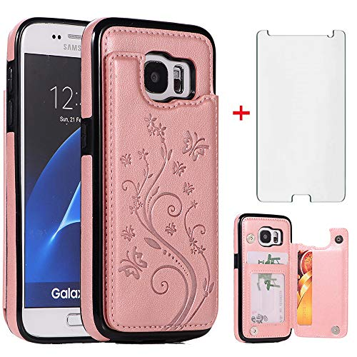Phone Case for Samsung Galaxy S7 with Tempered Glass Screen Protector Card Holder Wallet Cover Flip Leather Cell Accessories Glaxay S 7 Galaxies 7s...