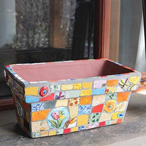 Soul hill Karakteristieke Creatieve Landelijke Mozaïek Keramiek Rechthoek Bloem Pot Huishoudelijke Decoratie Kleur Proces Patroon Indoor Outdoor Container Decor Desktop Vensterbank Bonsai Pots Plant Pot