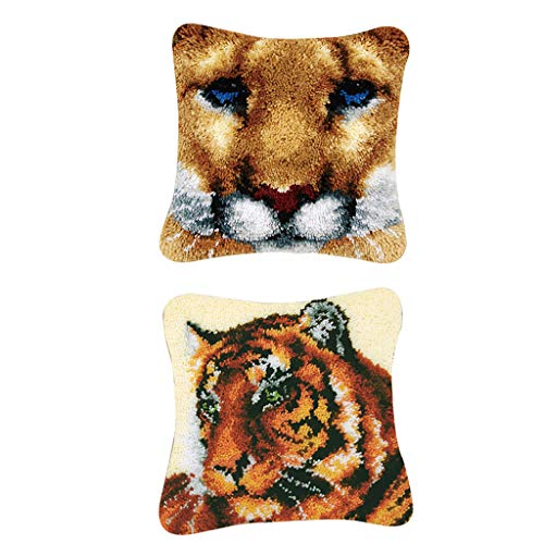 joyMerit Paquete de 2 Kits de Gancho de Pestillo para Bricolaje, Funda de Almohada para Sofá, Funda de Cojín, Leopardo Tigre con Patrón Impreso de 17 X 17 Pulg
