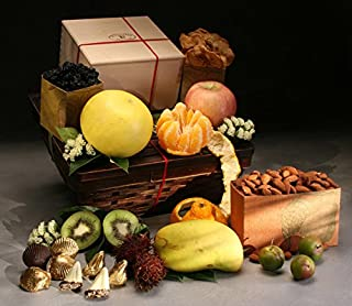 Morgan Fruit Basket: 9 Luscious In-Season Fruits, Dried Bing Cherries, Apple Rings and Roasted Almonds, and Chocolates in Our Bamboo Basket | Perfect for Elegant Giving, by Manhattan Fruitier