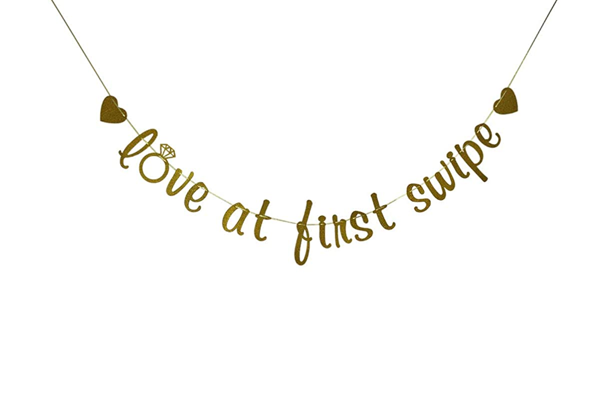 Love at First Swipe Banner, Tinder Wedding Engagement Bridal Shower Bunting Sign, Funny Tinder Couple Party Decorations Gold Glitter