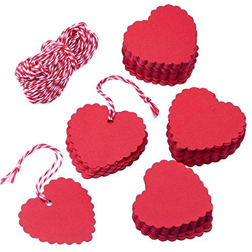 MINGZE 100 pcs rouge coeur forme Kraft papier cadeau étiquettes avec 20m ficelle, étiquette bagage Tag, Carte cadeau pour la Saint-Valentin de noël mariage Thanksgiving anniversaire vacances parti
