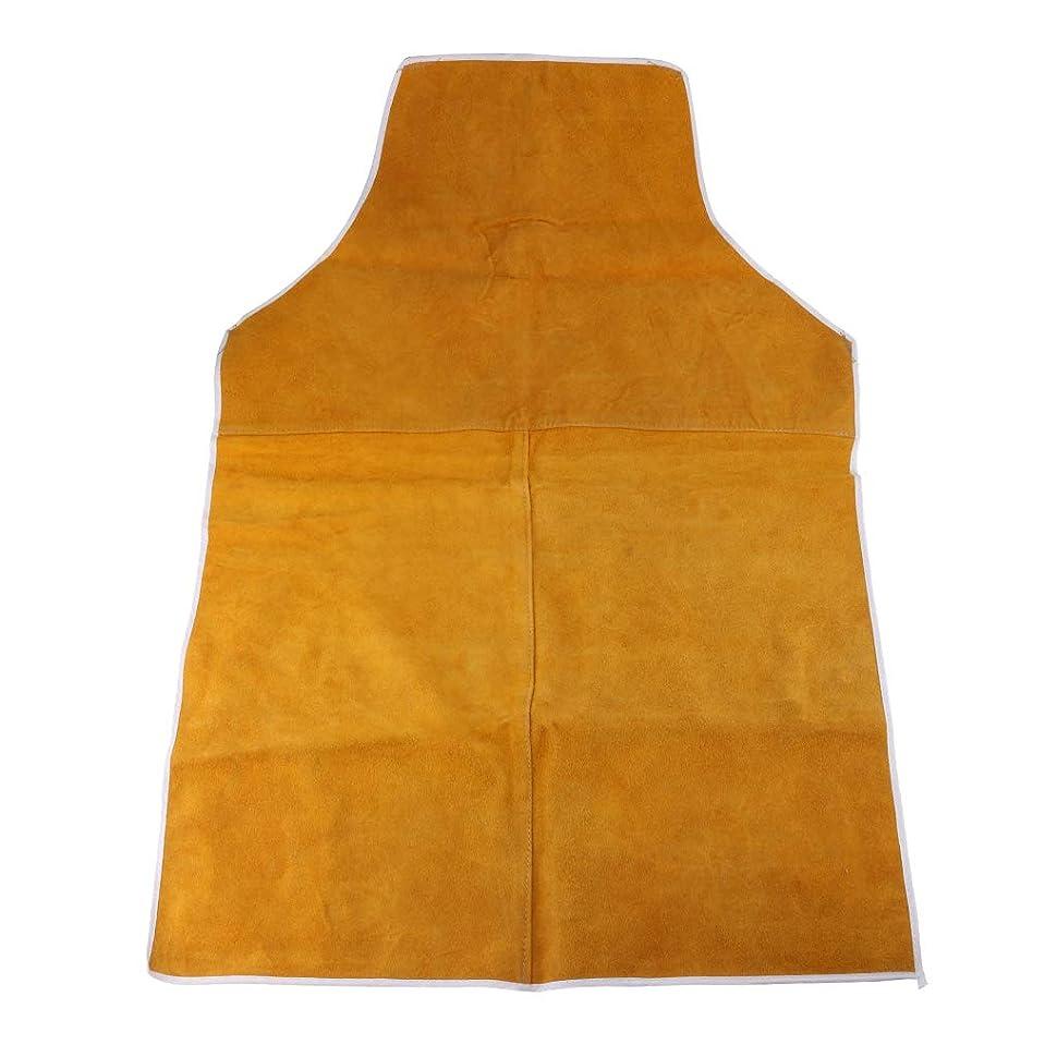 注釈を付ける上に背骨KESOTO 全2カラー 溶接用エプロン 防護服 約90 x 60cm 高品質の牛革素材 耐油性 耐湿性 - 黄