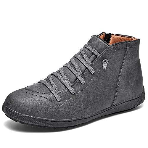 RZJF Männer Warme Beiläufige Lederne Schuhe, Bequeme Im Freien Plus Samt Baumwollschuhe Geeignet Für Geschäftsreisende,Grau,41