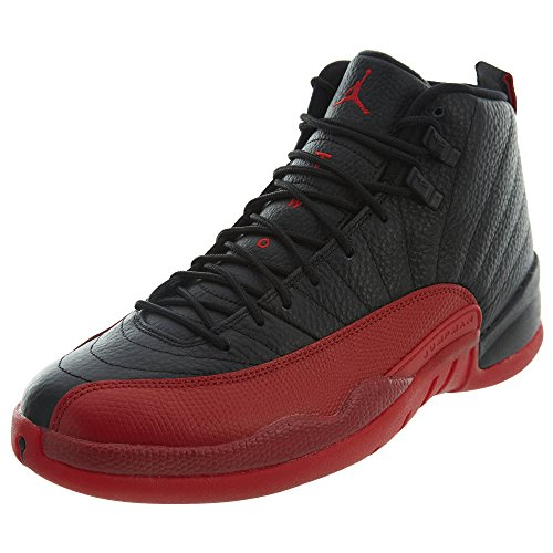 NIKE Men's Air Jordan 12 Retro Basketball Shoes, Black (Black/Varsity Red),...