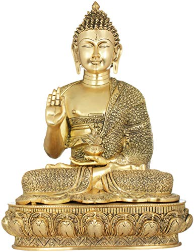 Exotic India Gautam Buddha in Vitark Mudra Wearing A Fully Carved Robe - with Mantras on Reverse of Base - Brass