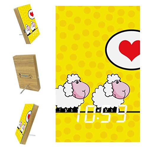 nakw88 Reloj despertador digital con diseño de ovejas con texto en inglés 'Love' y con puerto USB para cargar, oficina y decoración del hogar