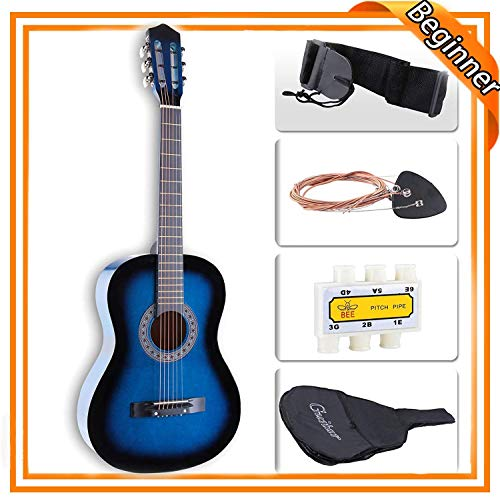 Price comparison product image LAGRIMA 38 inch Beginner Acoustic Guitar Starter Kit Kids Adult with Guitar Case,  Strap,  Tuner & Pick Steel Strings (Blue)