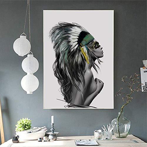 wZUN Moda Simple Pluma Abstracta Tribal Chica Arte Lienzo Pintura Cartel impresión Pared Imagen hogar Sala de Estar decoración 60x90 Sin Marco