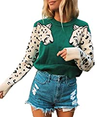 Catagory: Women's sweaters, womens tops, leopard sweater, pullover sweater, women's cropped sweater, women's tunic sweater Material: 90% Polyester; 10% Spandex. This womens sweater is 100% brand new and high quality! Style: this leopard sweater is fe...