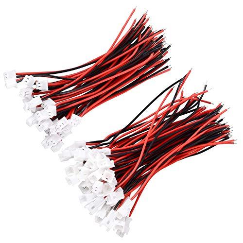 YIXISI 20 Paare JST Steckverbinder, 2-Pin Connector Plug Male & Female, JST 2.0mm 2-poliger Stecker mit 100mm Kabeldraht, JST PH 2.0 Connector Female Male Mikro Elektronik Steckverbinder Stecke Kabel