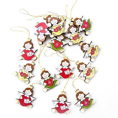 30 piccoli angioletti natalizi in legno, da appendere, in rosso, verde, bianco, giallo, 4 cm di altezza misurata senza cordino, decorazione per albero di Natale, angeli con cuore, regalo, libro