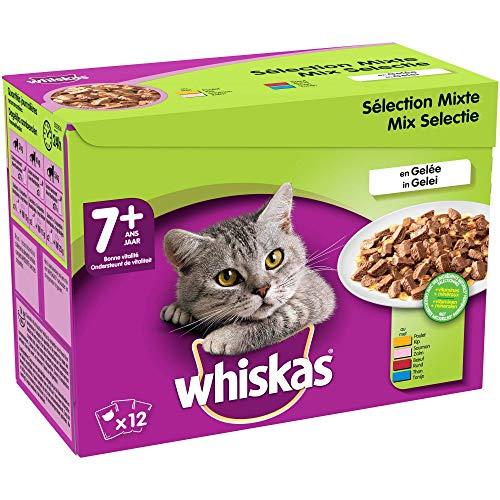 Whiskas Senior7+ - Sachets fraîcheur pour chat senior (stérilisé ou non), sélection mixte en gelée, 48 sachets repas de 100g