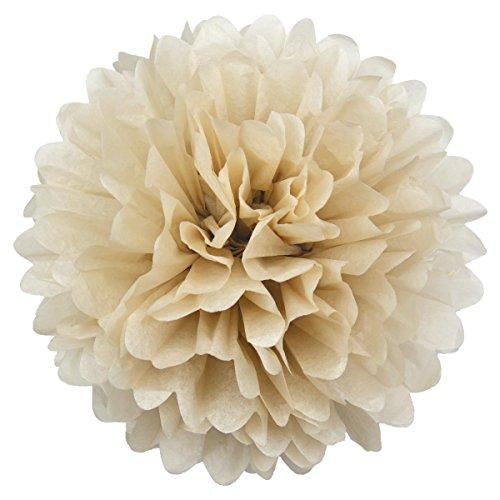 Simplydeko Pompoms 10er Set | Deko Pom-Poms aus Papier | Papierkugel zur Hochzeit oder Party | Papierblumen als Hochzeitsdeko | Seidenpapier Pompons | Beige Creme Sand | 40 cm