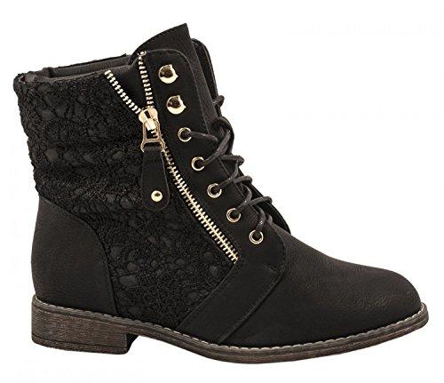 Elara Damen Stiefeletten Worker Boots Spitze Chunkyrayan B9812-KB-Schwarz-39