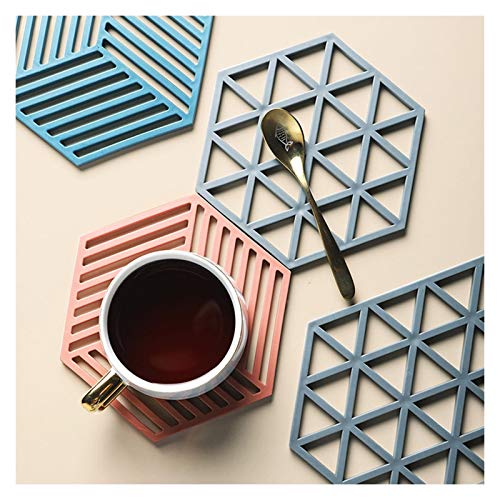 Rubber Silicone Placemats for Dining Kitchen Round Table, Mixed Color Polygon Vinyl Silicon Place Mat Set,Non Slip Waterproof Placemat for Kids,Heat Resistant Round Laminated Placemats Easy to Clean,C