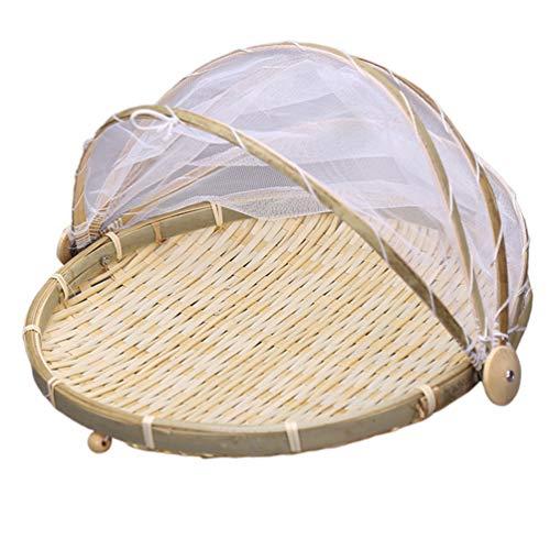 Cabilock Cesta de Bambú para Servir Comida Cesta con Gasa Cesta de Almacenamiento de Pan de Frutas Vegetales Servidor de Mesa de Comida con Cubierta Cesta de Picnic 35Cm