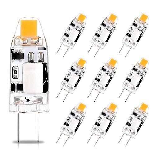 G4 LED Lampen, AC/DC 12V, 1.2W, Warmweiß 2700K, Entspricht 10W Halogen Leuchtmittel, CRI > 85, 150Lm, Nicht Dimmbar, Kein Flackern, 10 Stück,Viaus