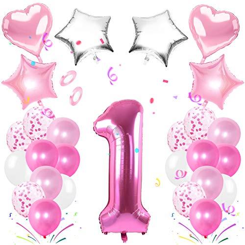 TaimeiMao 1 Compleanno Decorazioni,Numero di Palloncini,Decorazioni Compleanno,Palloncino Numero,Numeri Gonfiabili Compleanno,Numeri Gonfiabili Compleanno (Rosa 1)
