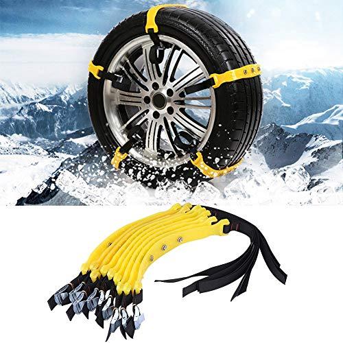 Skiesoar Schneeketten für Autoreifen, 185–225mm, universal, für verbreiterte Reifen, Schneeketten, Anti-Rutsch-Ketten, Notfall-Traktions-Reifen-Kabelbinder, 10 Stück