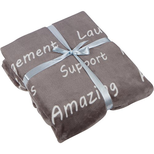 Healing Thoughts Throw Blanket - Inspiring and Comforting Positive Words Get Well Gifts - Grey 50 x 60 - Gift Ready