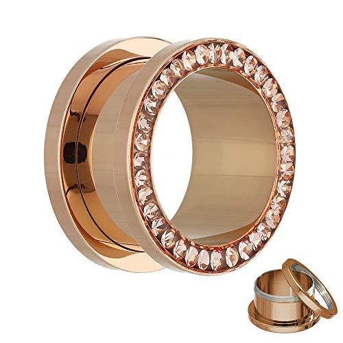 Treuheld® | 1,2mm Kristall Ohr Flesh Tunnel | Rosé Gold mit Pfirsichfarbenen Zirkonia Steinen | Chirurgenstahl | Gewinde Schraubverschluss | Damen