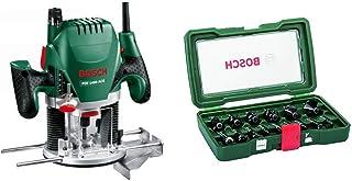 Bosch POF 1400 ACE - Fresadora de superficie (1.400 W, en maletín) + Bosch 2607019469 - Pack de 15 fresas con inserción de 8 mm