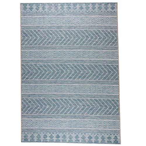 havatex Outdoor Flachgewebe Teppich Sky Streifen - Blau oder Grau | Balkonteppich Terrassenteppich in Sisal-Optik | robuste Kunstfaser für drinnen & draußen, Farbe:Blau, Größe:160 x 230 cm