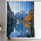 KGSPK Cortinas de Ducha,Hermoso Lago en los Alpes en otoño,Cortina de baño Decorativa para baño,bañera 180 x 180 cm