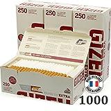 Gizeh Lot de 4 Paquets de 250 filtres Extra Longs Argenté